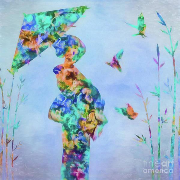 Geisha Mixed Media - Three Birds In Bamboo by Olga Hamilton