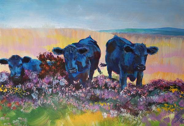 Painting - Three Black Cows On Dartmoor by Mike Jory
