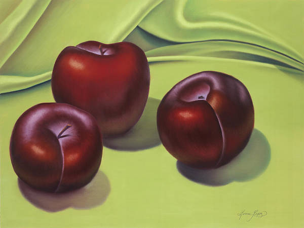 Wall Art - Painting - Three Black Plums by Gema Lopez