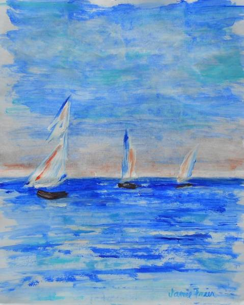 Impressionistic Sailboats Painting - Three Boats by Jamie Frier