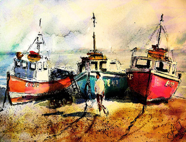 Devon Painting - Three Boats by Steven Ponsford