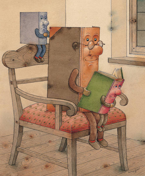 Wall Art - Painting - Three Books by Kestutis Kasparavicius