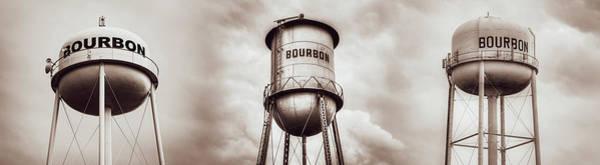 Irish Whiskey Photograph - Three Bourbon Whiskey Towers Panorama - Sepia Monochrome by Gregory Ballos