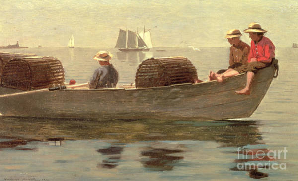 Wall Art - Painting - Three Boys In A Dory by Winslow Homer