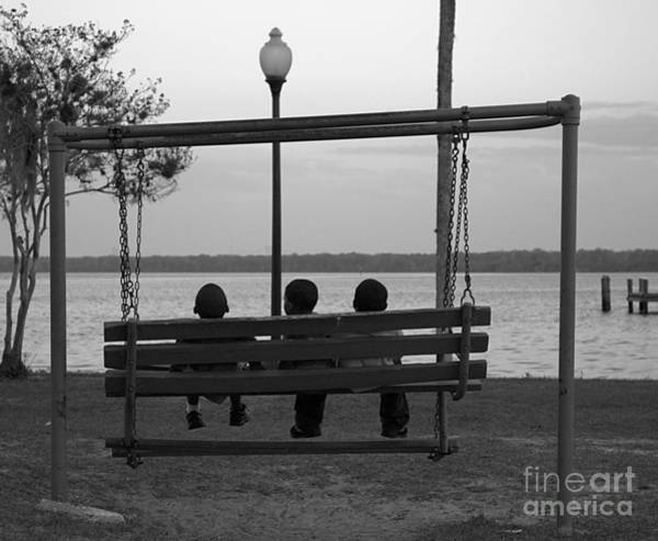 Shotwell Photograph - Three Boys On A Swing by Kathi Shotwell
