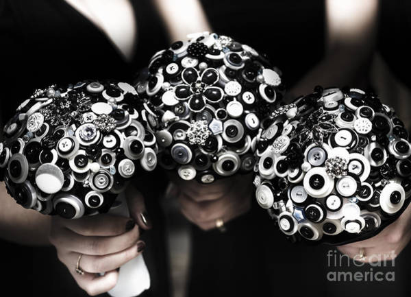 Wedding Reception Photograph - Three Bridesmaids Holding Vintage Button Bouquets by Jorgo Photography - Wall Art Gallery