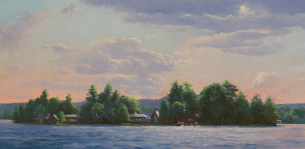 Adirondack Mountains Painting - Three Brothers East Side At Evening by Marianne Kuhn
