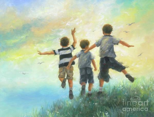 Wall Art - Painting - Three Brothers Leaping by Vickie Wade