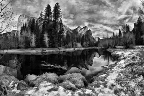 Photograph - Three Brothers Yosemite Black And White by Blake Richards