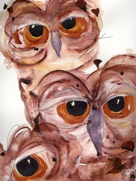 Painting - Three Burrowing Owls by Dawn Derman
