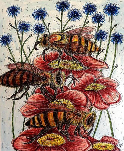 Three Busy Bees Art Print