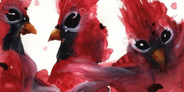 Painting - Three Cardinals by Dawn Derman