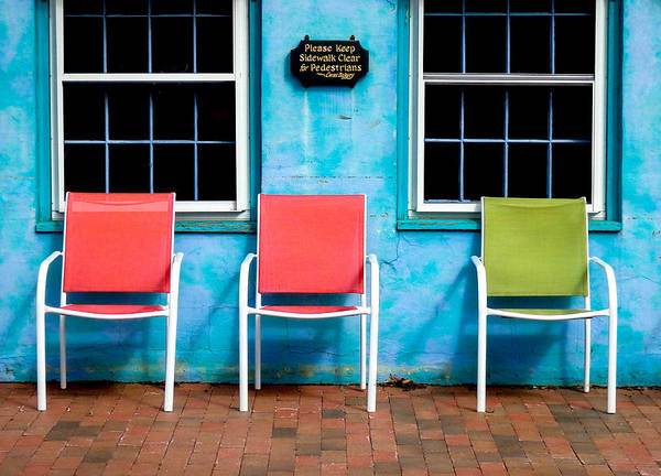Photograph - Three Chairs And Two Windows by Nancy De Flon