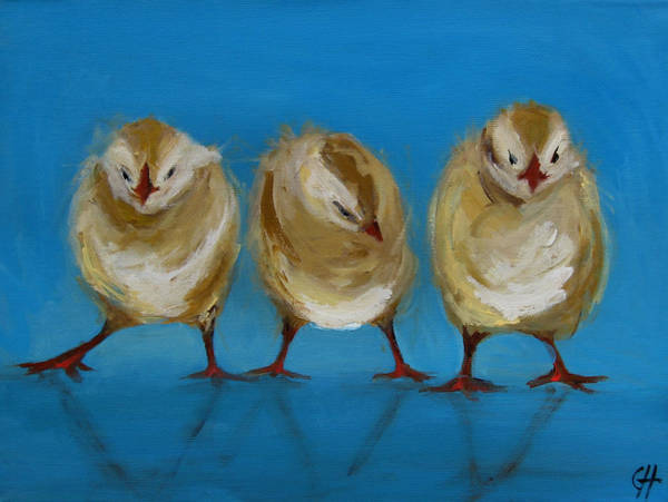 Chick Painting - Three Chicks by Cari Humphry