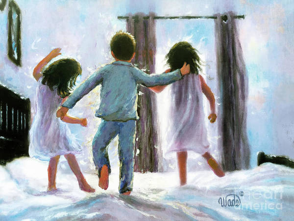 Wall Art - Painting - Three Children Jumping On The Bed Brunettes by Vickie Wade