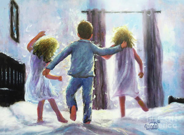 Wall Art - Painting - Three Children Jumping On The Bed by Vickie Wade
