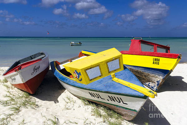 Wall Art - Photograph - Three Colorful Fishing Boats On The Dunes by George Oze