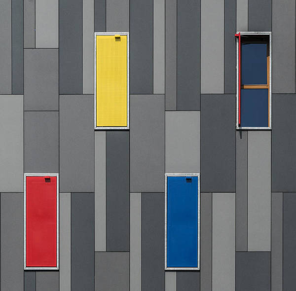 Facade Photograph - Three Colors And A Window by Jef Van Den