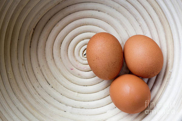 Photograph - Three Country Eggs In A White Bowl by Edward Fielding