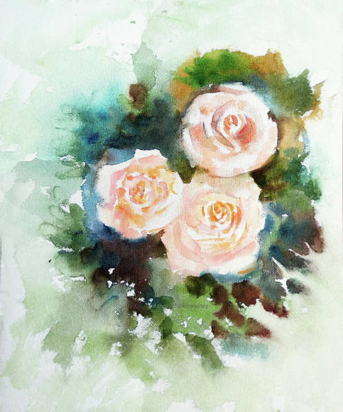 Painting - Three Cream Roses by Asha Sudhaker Shenoy