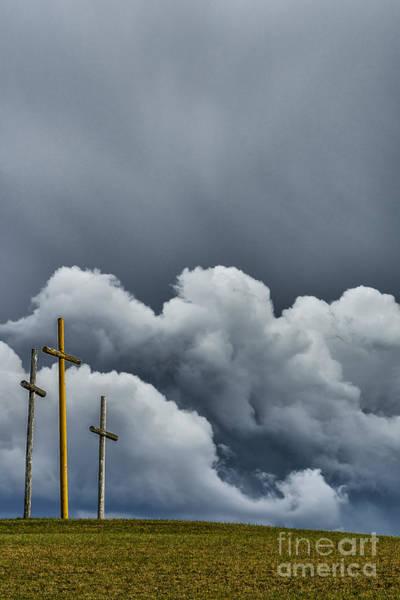 Wall Art - Photograph - Three Crosses Coming Storm by Thomas R Fletcher