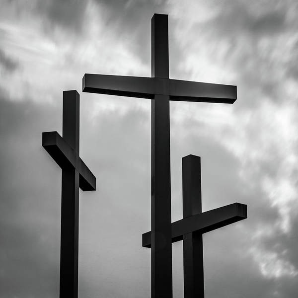 Photograph - Three Crosses - Monochrome Square Art by Gregory Ballos