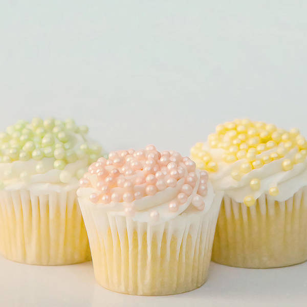 Cupcakes Photograph - Three Cupcakes by Art Block Collections