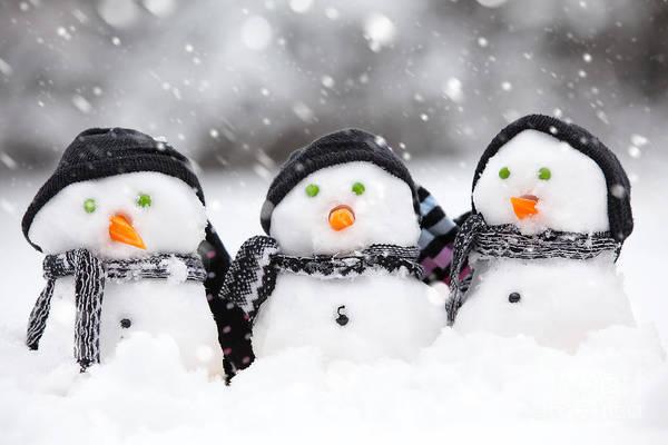 Jolly Holiday Photograph - Three Cute Snowmen by Simon Bratt Photography LRPS
