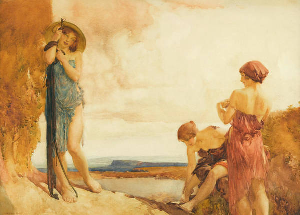 Tits Painting - Three Damsels Sight by Sir William Russell Flint