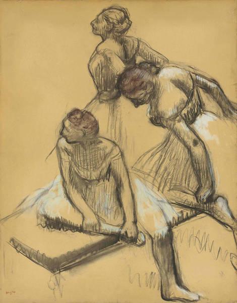 Wall Art - Drawing - Three Dancers 2 by Edgar Degas