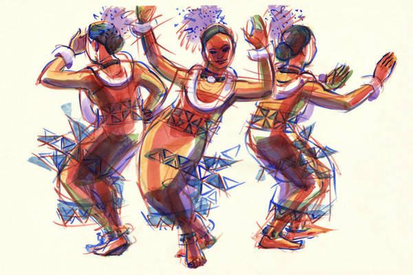 Painting - Three Dancers Of Tongatapu by Judith Kunzle