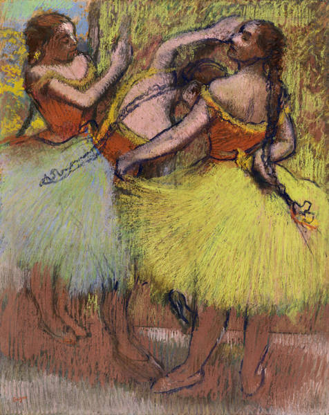 Braid Painting - Three Dancers With Hair In Braids by Edgar Degas