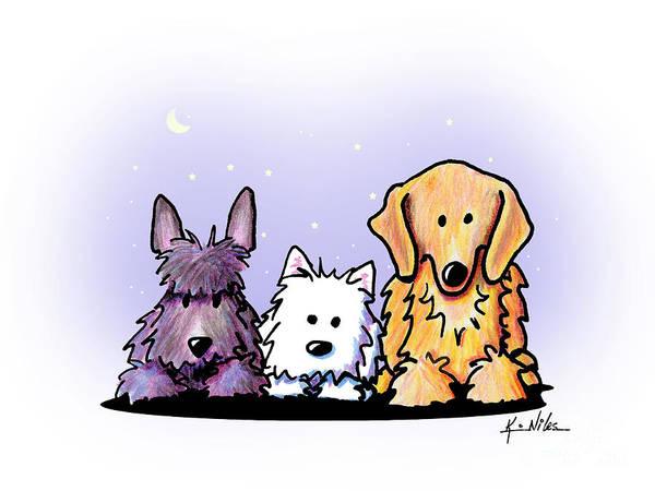 Wall Art - Drawing - Three Dog Night by Kim Niles