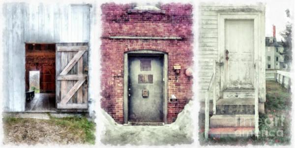 Wall Art - Digital Art - Three Doors Watercolor by Edward Fielding