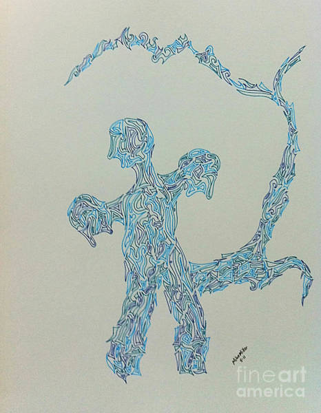 Michael Miller Wall Art - Drawing - Three Dragon by Michael Miller