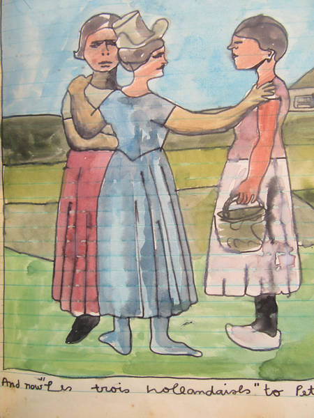 Drawing - Three Dutch Women By Van Goh And Then My Take. Saw A Copy In Paris Room. by Ana Johnson