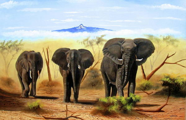 Painting - Three Elephants by Wycliffe Ndwiga