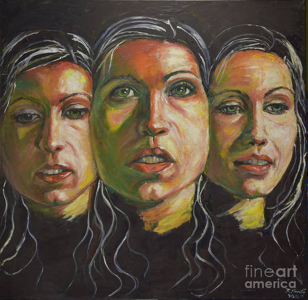Painting - Three Faces 1 by Raija Merila