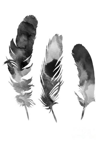 Three Feathers Silhouette Art Print