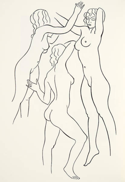 Line Drawing Painting - Three Female Nudes by Eric Gill