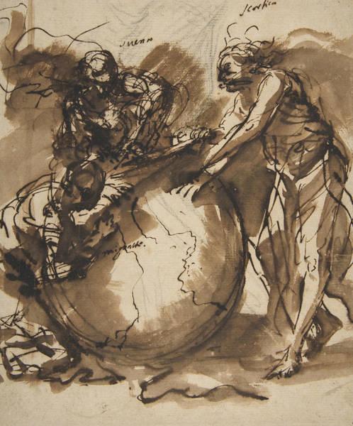 Three Figures Around A Globe Art Print