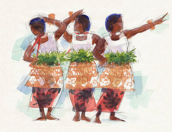 Painting - Three Fijian Dancers by Judith Kunzle