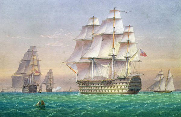 Set Sail Painting - Three First Rate Ships Of The Line Entering Portsmouth Harbor by William and John Joy