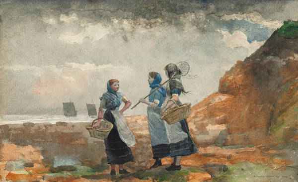 Painting - Three Fisher Girls Tynemouth by Winslow Homer