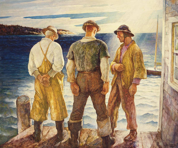Brandywine Wall Art - Painting - Three Fishermen by Newell Convers Wyeth