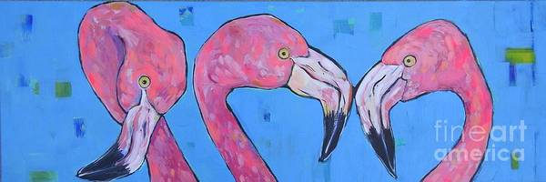 Wall Art - Painting - Three Flamingos by Arrin Burgand
