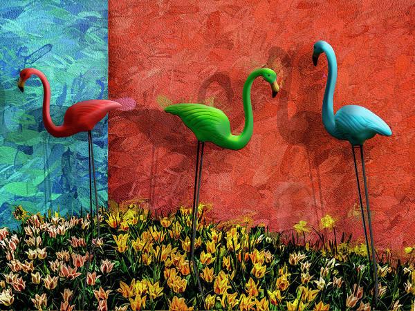 Photograph - Three Flamingos by Paul Wear
