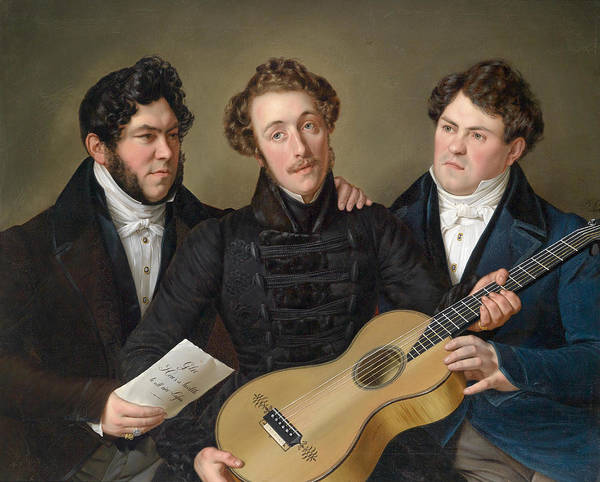 Gitar Painting - Three Friends by Benjamin Heinrich Orth