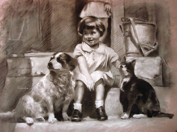 Cat Drawing - Three Friends On The Doorstep by Ylli Haruni