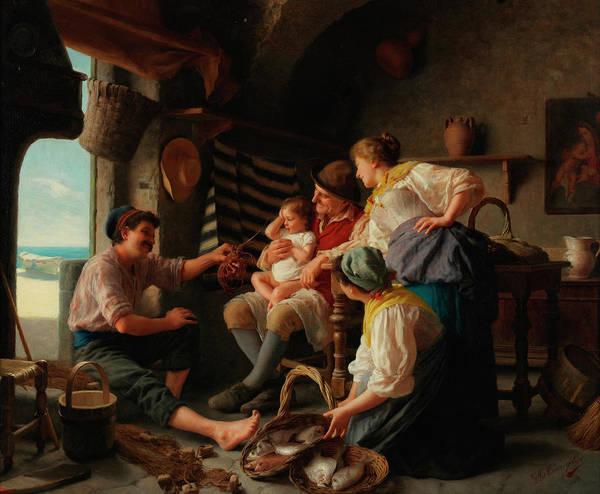 Rural Life Wall Art - Painting - Three Generations by Giovanni Battista Torriglia